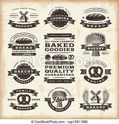 vendange, boulangerie, étiquettes, ensemble - csp13811986