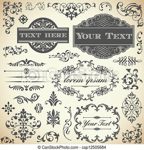 vendange, calligraphie, ensemble, ornement - csp12505684