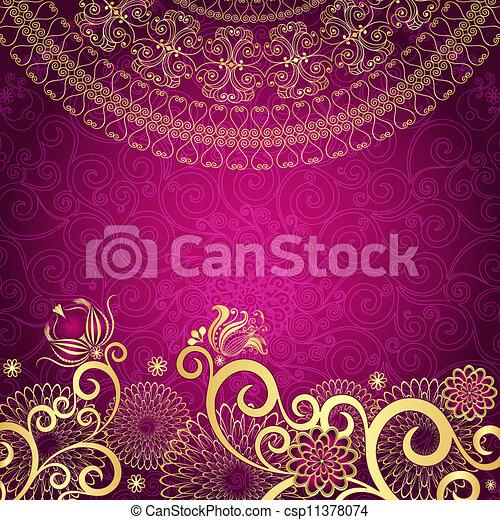 vendange, gold-purple, cadre - csp11378074