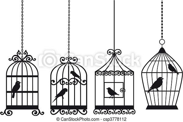 vendange, oiseaux, cages oiseaux - csp3778112