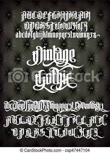 vendange, police, gothique - csp47447104