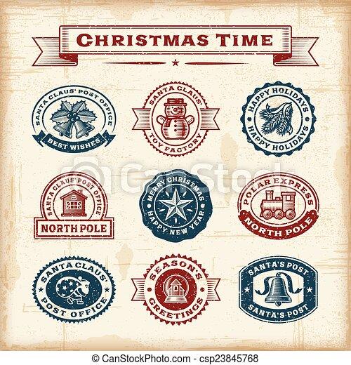 vendange, timbres, ensemble, noël - csp23845768