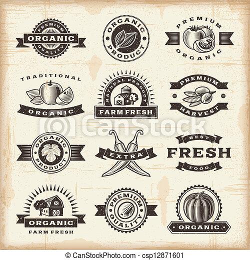 vendange, timbres, ensemble, récolte, organique - csp12871601