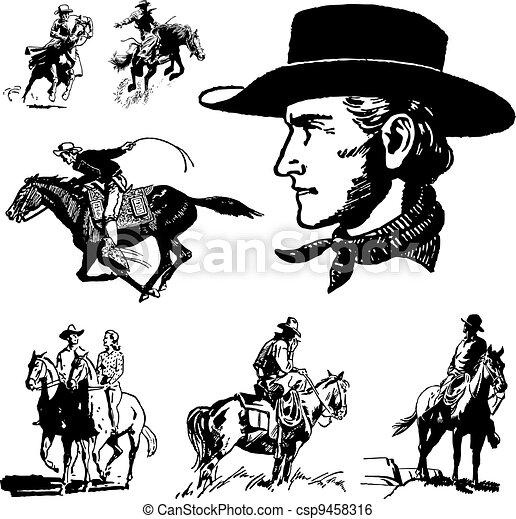 vendange, vecteur, cow-boy, graphiques - csp9458316