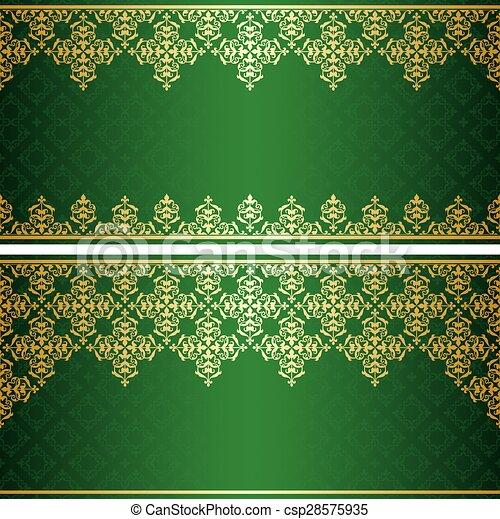 vendange, vecteur, vert, carte, or - csp28575935