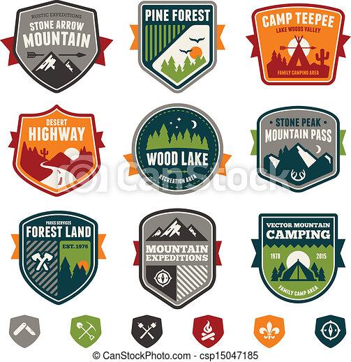 vendange, voyage, camp, insignes - csp15047185