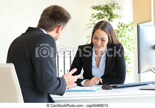 vente, vendeur, bureau, client - csp43468013