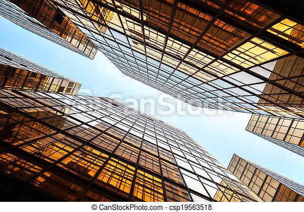 verre, hong, perspective, gratte-ciel, kong - csp19563518