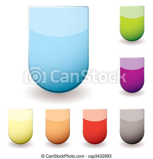 verre, sheild, icône - csp3432993