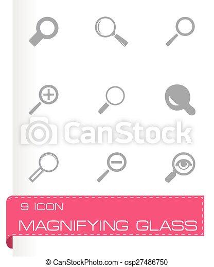 verre, vecteur, ensemble, magnifier, icônes - csp27486750