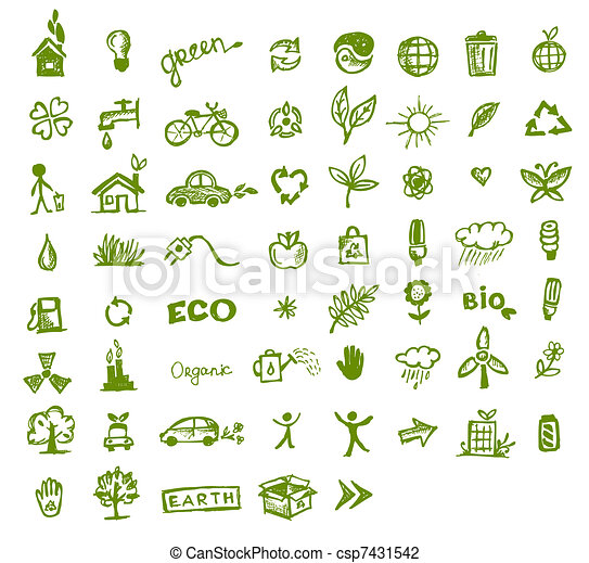 vert, écologie, conception, ton, icônes - csp7431542
