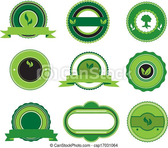 vert, étiquettes, ensemble - csp17031064