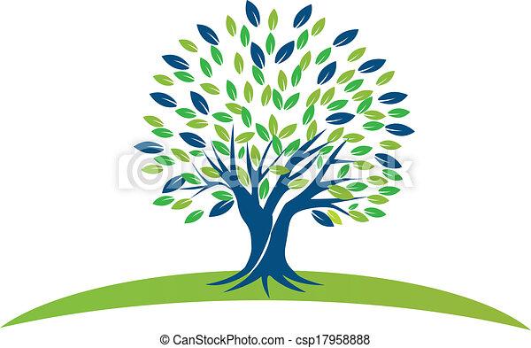 vert bleu, arbre, pousse feuilles, logo - csp17958888