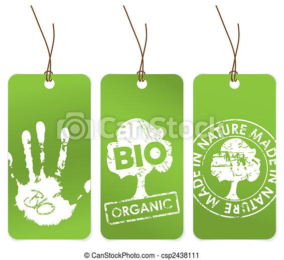 vert, ensemble, organique, trois, étiquettes - csp2438111
