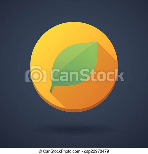 vert, ombre, feuille, long, icône - csp22978479