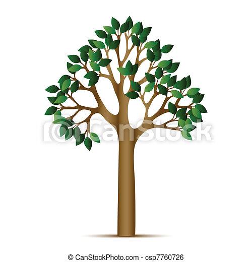 vert, vecteur, arbre, icône - csp7760726