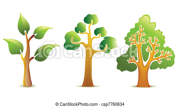 vert, vecteur, arbre, icônes - csp7760634