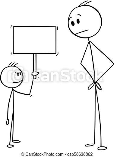 vide, petit, signe, tenue, dessin animé, garçon, homme - csp58638862