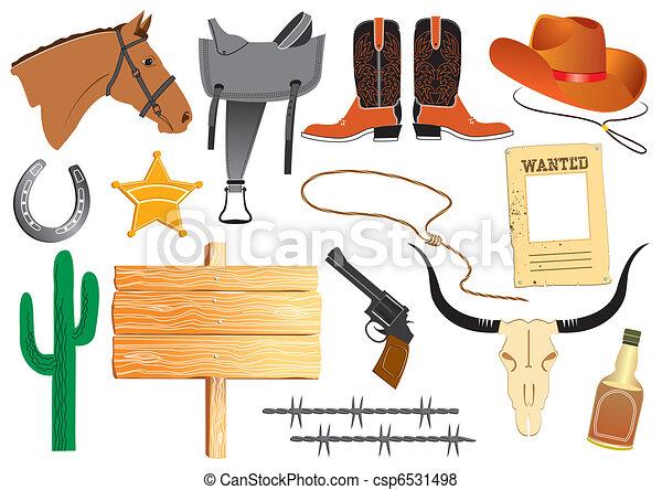 vie, éléments, cow-boy, travail, vecteur, blanc, vêtements - csp6531498