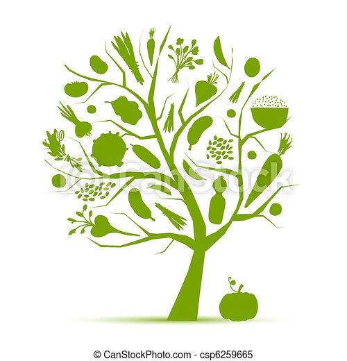vie, sain, arbre, légumes, -, vert, conception, ton - csp6259665