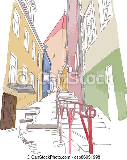 vieille ville, étroit, coloré, croquis, rue - csp86051998