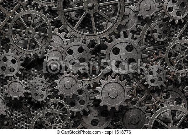 vieux, beaucoup, métal, machine, rouillé, parties, engrenages, ou - csp11518776