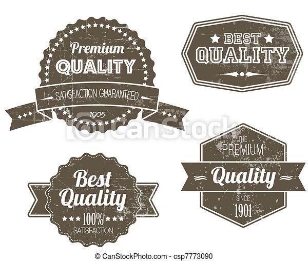 vieux, vendange, étiquettes, sombre, retro, grunge - csp7773090
