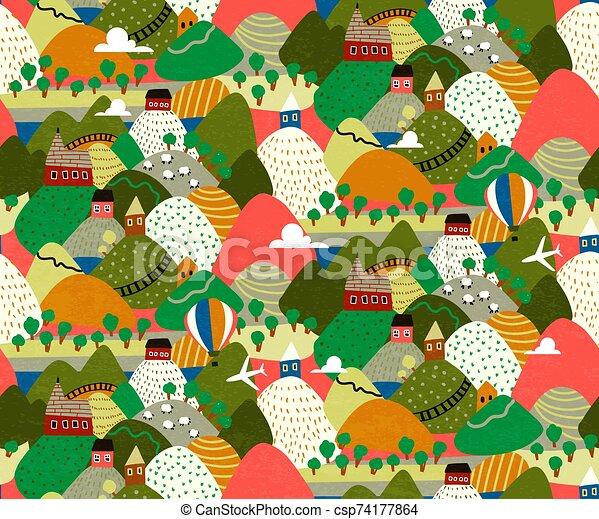 village, illustration., hills., coloré, paysages, vecteur - csp74177864