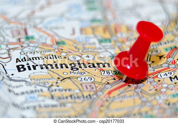 ville, alabama, birmingham, épingle, carte - csp20177033