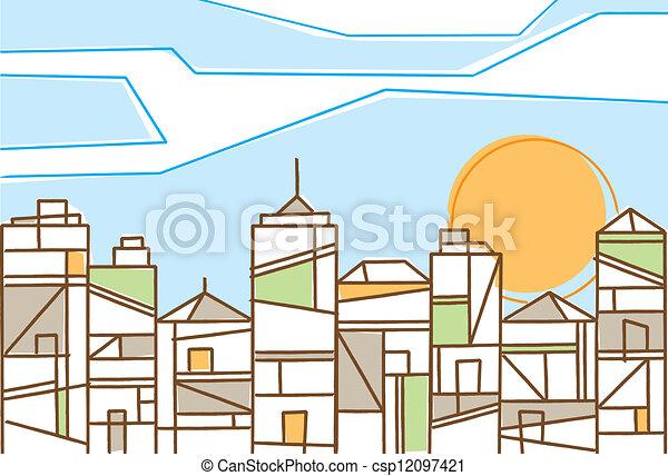 ville, conception, contemporain, frais - csp12097421