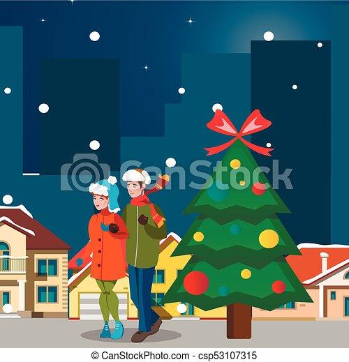 ville, couple, hiver, paysage. - csp53107315