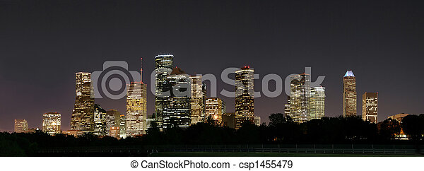 ville houston, pano, nuit - csp1455479