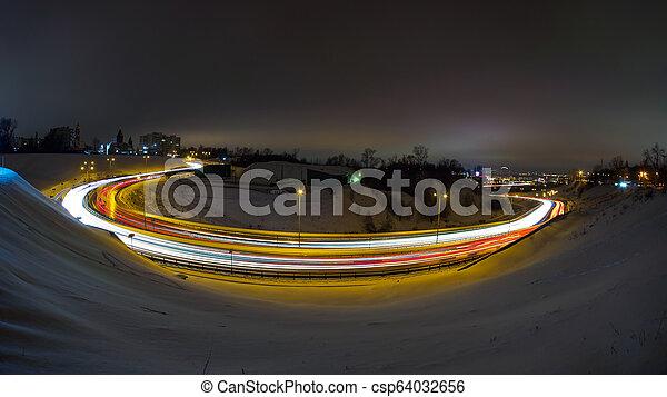 ville, long, trafic, nuit, route, exposition - csp64032656