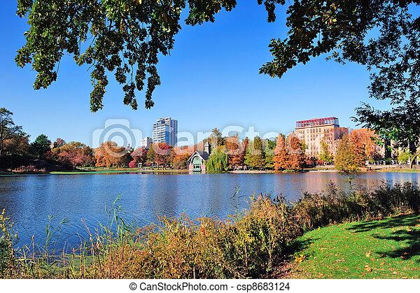 ville, parc central, automne, york, nouveau - csp8683124