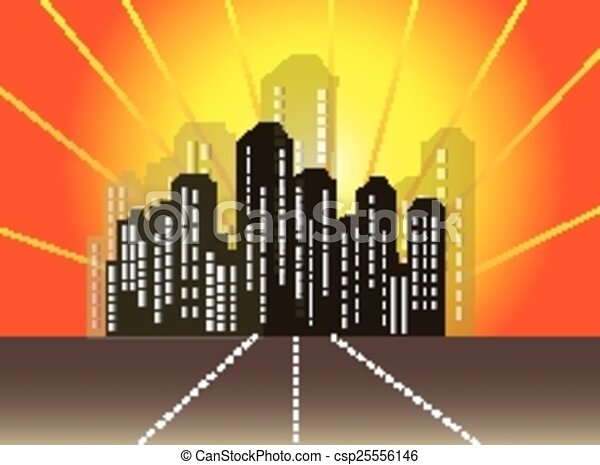 ville, résumé, horizon - csp25556146