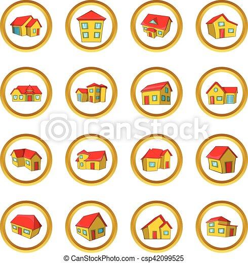 ville, style, ensemble, maison, petite maison, dessin animé - csp42099525