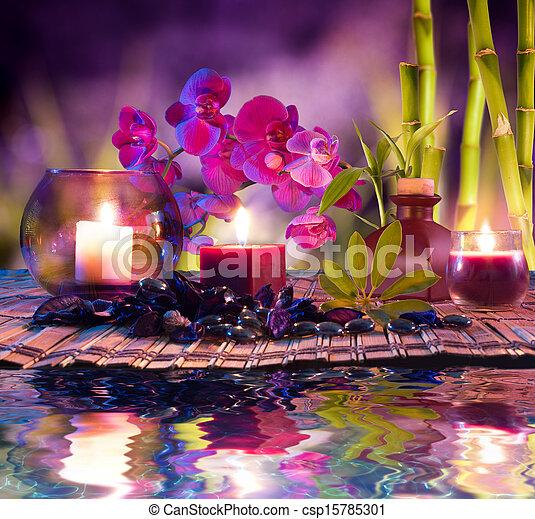 violet, bougies, -, huile, composition - csp15785301
