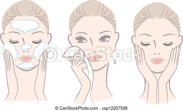 visage femme, lavage, processus - csp12207598