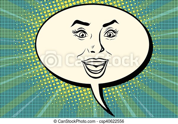visage smiley, femme, comique, bulle, joyeux - csp40622556