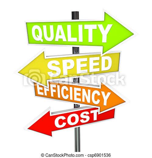 vitesse, différent, coloré, pointage, diriger, -, procédés, priorities, coût production, qualité, efficacité, signes, directions, flèche, plusieurs, représenter - csp6901536