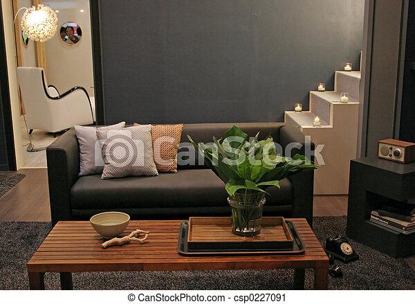 vivant, intérieurs, -, salle, maison - csp0227091