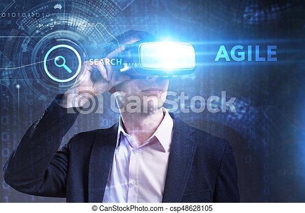 voit, réseau, fonctionnement, inscription:, agile, concept., jeune, virtuel, business, internet, homme affaires, technologie, réalité, lunettes - csp48628105