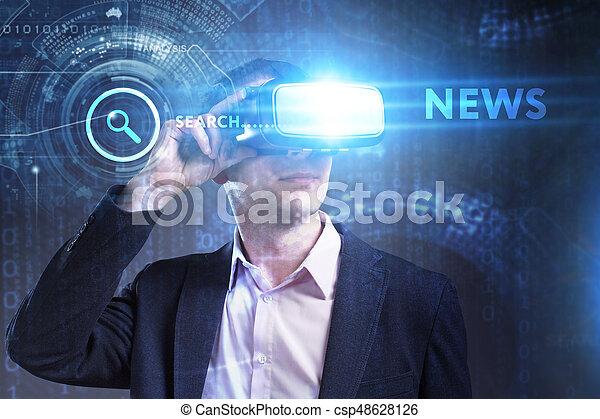 voit, réseau, fonctionnement, technologie, inscription:, concept., jeune, virtuel, business, internet, homme affaires, nouvelles, réalité, lunettes - csp48628126