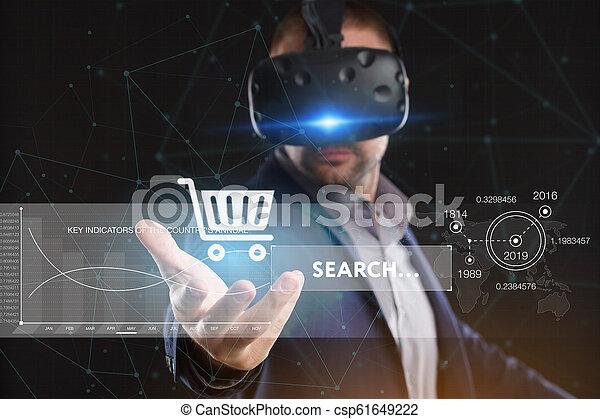 voit, réseau, fonctionnement, inscription:, concept., jeune, virtuel, business, internet, homme affaires, technologie, réalité, lunettes - csp61649222