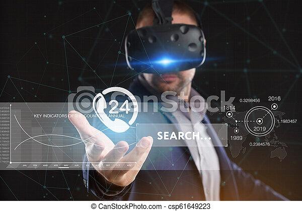 voit, réseau, fonctionnement, inscription:, concept., jeune, virtuel, business, internet, homme affaires, technologie, réalité, lunettes - csp61649223