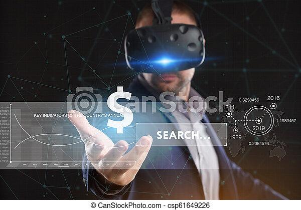 voit, réseau, fonctionnement, inscription:, concept., jeune, virtuel, business, internet, homme affaires, technologie, réalité, lunettes - csp61649226