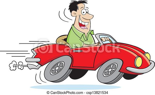 voiture, dessin animé, conduite, homme - csp13821534