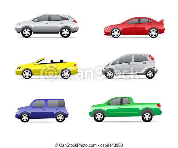 voitures, 3, partie, ensemble, icônes - csp9143360