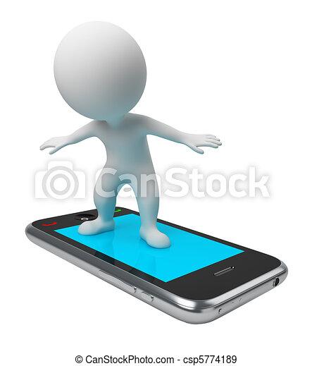 vol, gens, -, téléphone, petit, 3d - csp5774189