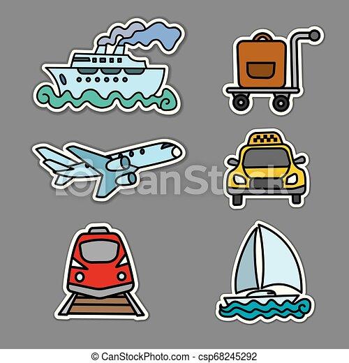 voyage, autocollants, transport - csp68245292